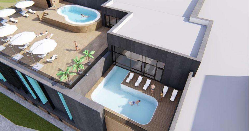 Рендеры здания с бассейнами