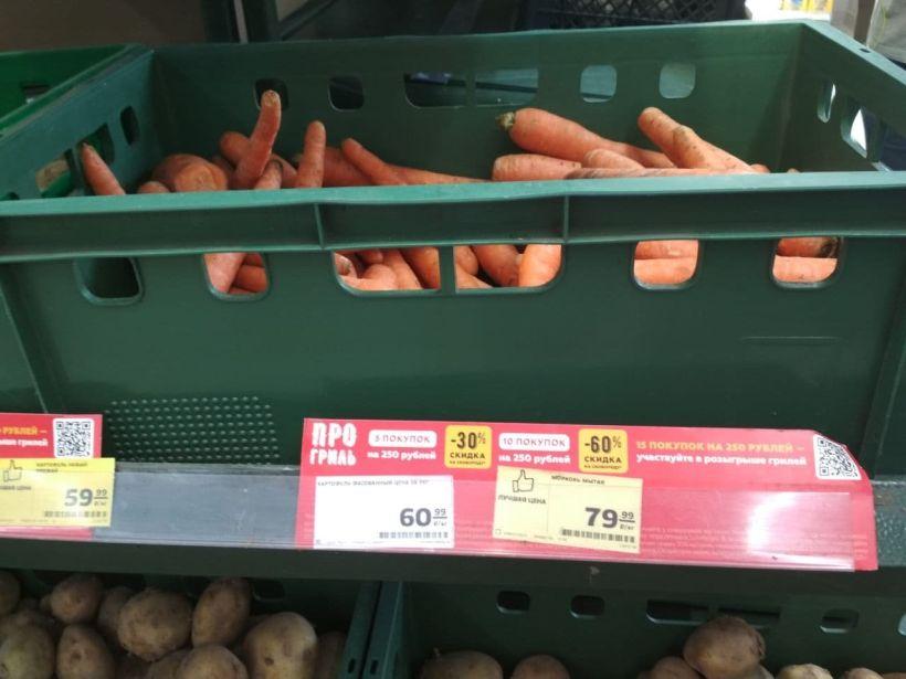 """Цены на морковь в """"Магните"""" Фото:""""Толк"""""""