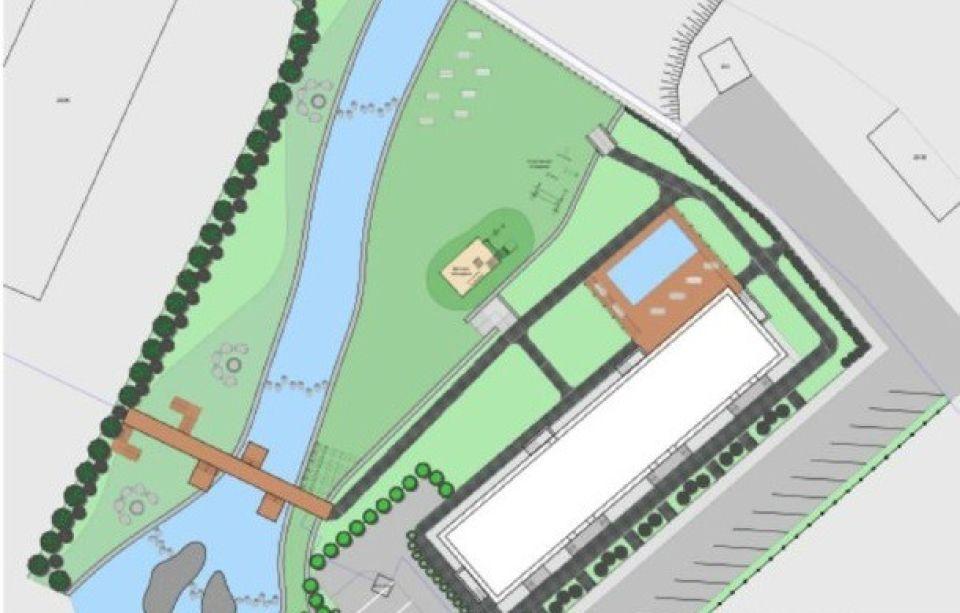 План таунхауса с водоемами во дворе