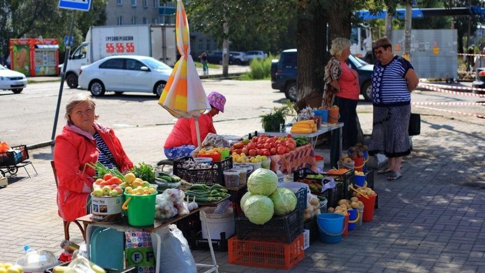 Стихийный рынок. Овощи-фрукты