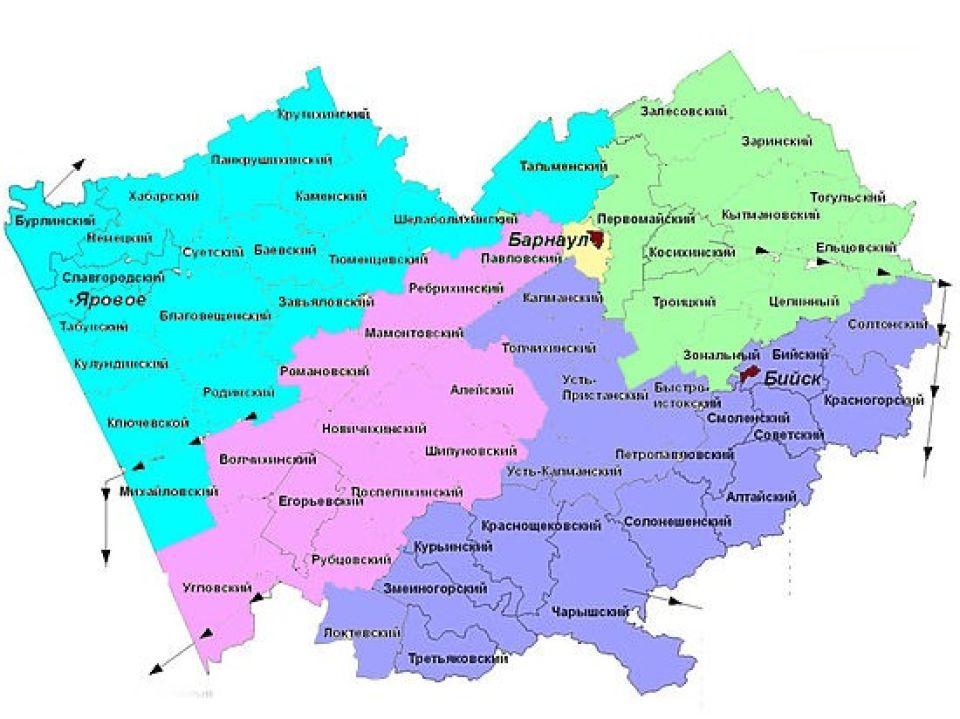 Карта одномандатных округов Госдумы в Алтайском крае