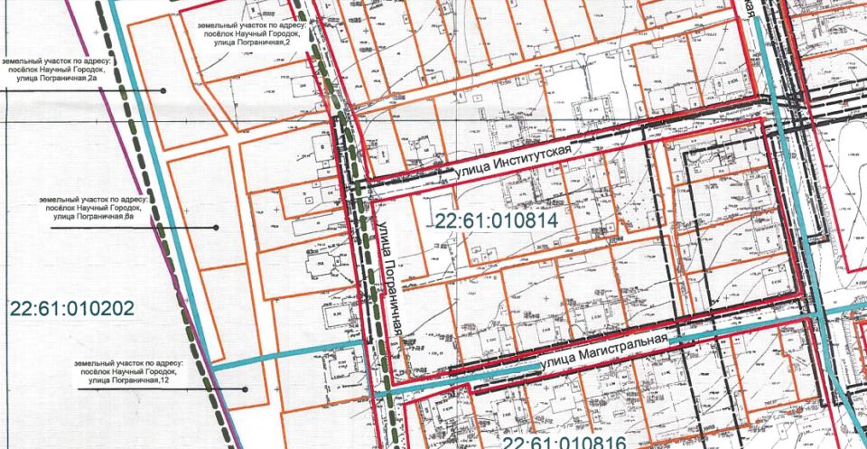 Проект с границами красных линий в Научном городке