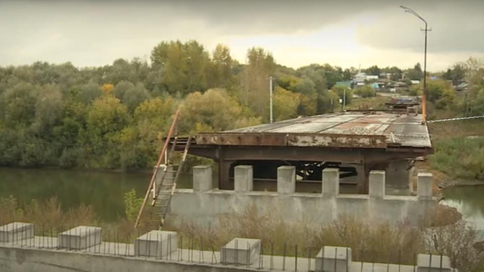 Строящийся мост через Чумыш в Заринске