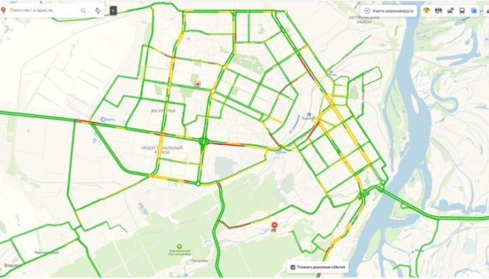 Улицы пустеют: пробки в Барнауле уменьшились из-за коронавирусных каникул