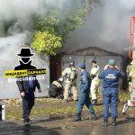 В Барнауле напротив жилого дома загорелся гараж