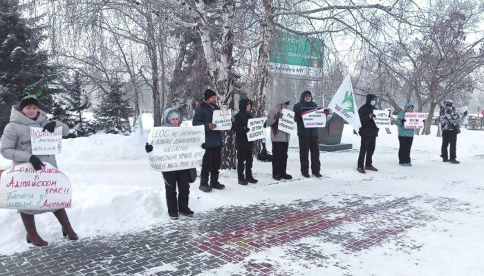 В центре Барнаула прошел пикет против дистанционного образования