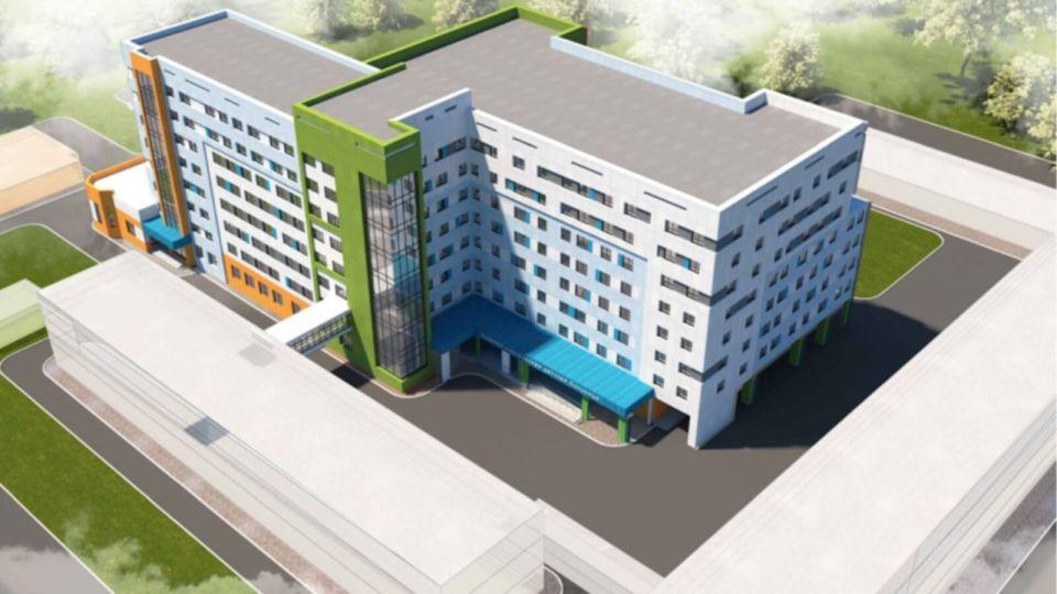 Эскиз корпуса здания детской хирургии на ул. Гущина, 179