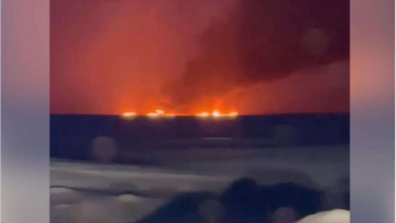 На Оби произошел пожар из-за аварии на газопроводе