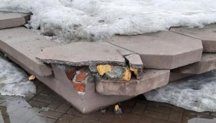 Дорожники повредили невезучий новый фонтан Бийска