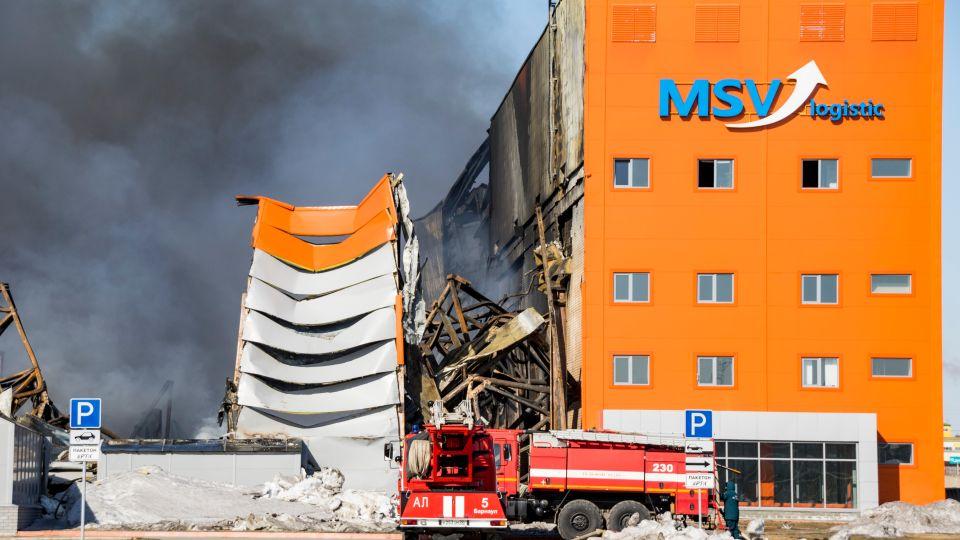 После пожара на складе
