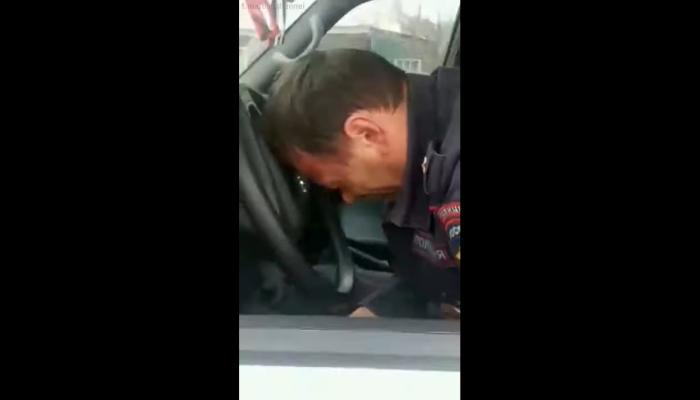 МВД: спящий за рулём майор алтайской полиции был трезв