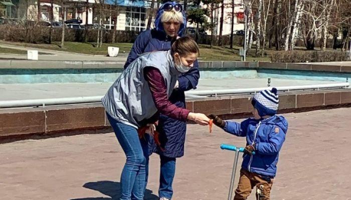 В Барнауле начали раздавать георгиевские ленточки ко Дню Победы