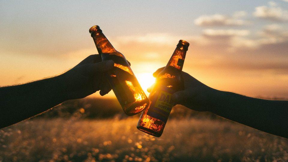 Бутылки. Алкоголь. Природа