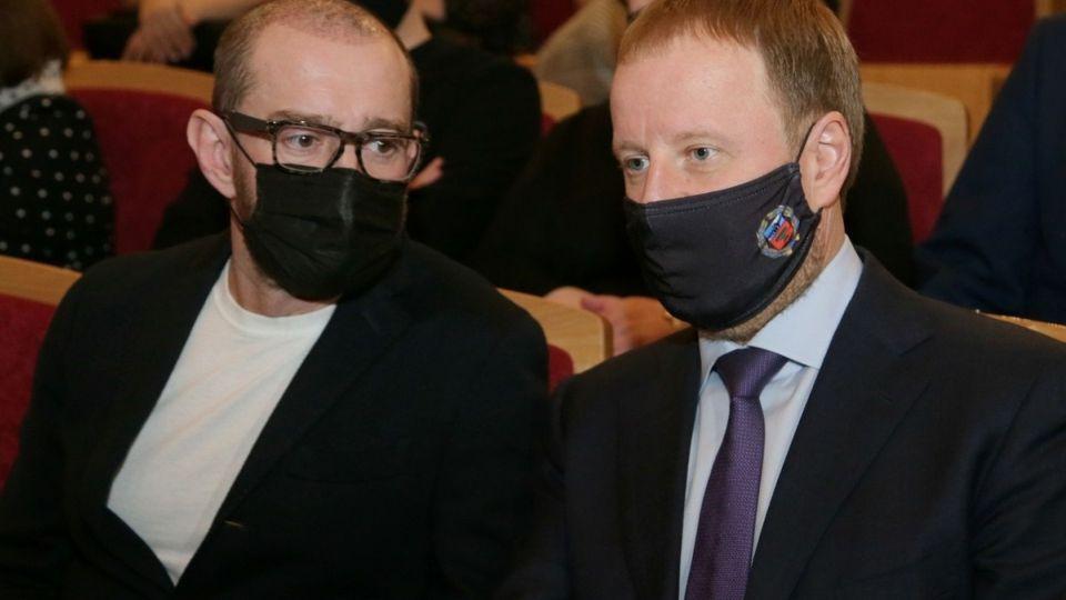 Константин Хабенский с губернатором Алтайского края Виктором Томенко
