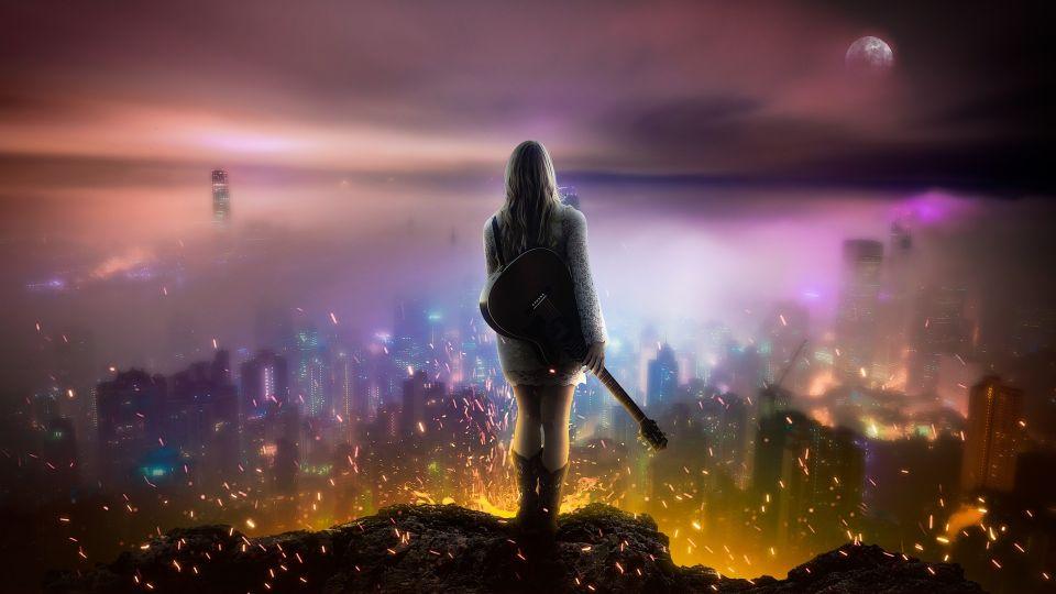 Девушка. Ночью Город