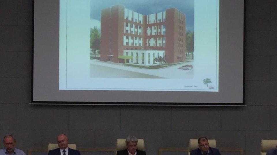 """Эскиз здания поликлиники в квартале """"Дружный 3"""""""